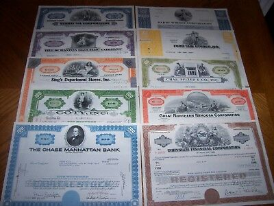 Lot of 10 Different Stock Certificates. TL6