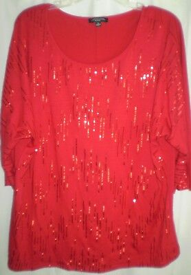 b1b0a048b55 Red Sequin Sparkle Bling Stretch Knit 3 4 Slv Pullover Top Blouse 2X  Valentines