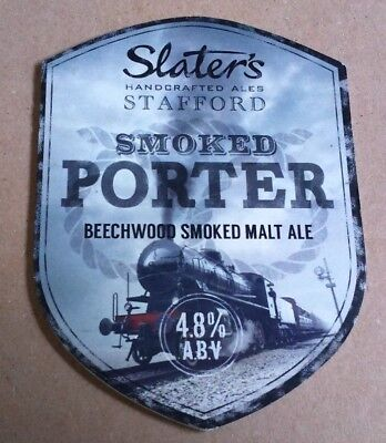 SLATER'S brewery SMOKED PORTER cask ale beer pump clip badge front slaters train