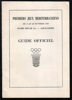 Egypt 1951 First Mediterranean Games Held In Alexandria Official 12 Page Guide