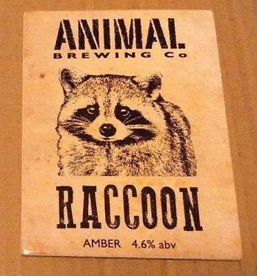 ANIMAL - XT brewery RACCOON cask ale beer pump clip badge front