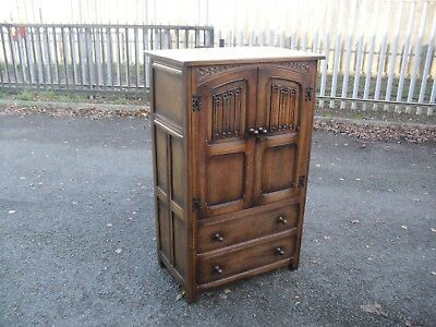 Quality Antiqued Oak Linenfold Tallboy Chest Of Drawers 1930's Era