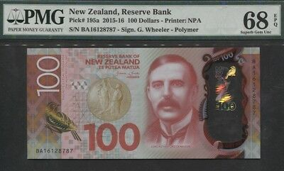 "TT PK 195a 2015-16 NEW ZEALAND 100 DOLLARS ""LORD NELSON"" PMG 68 EPQ SUPERB GEM!"