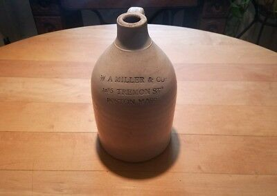 W A Miller & Co STONEWARE JUG 1285 Tremont St Boston Massachusetts 1 Gallon