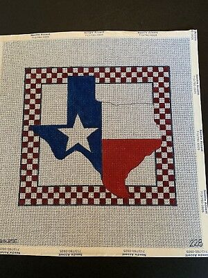 Handpainted Needlepoint Canvas - Texas with Checked Border by Denise