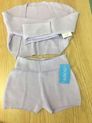 NWT Girls sz L harmonie sweater short and top set dance ballet gym lavender B13