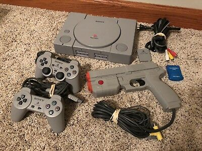 Sony Playstation 1 PS1 Console Time Crisis Bundle W/ Gun Controller +More