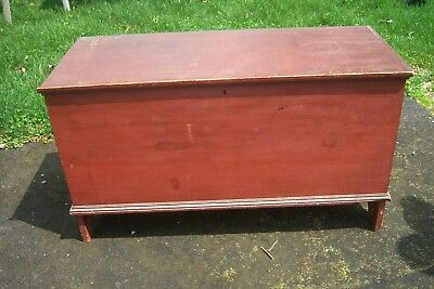 Early 1800's - 19thc. Original Red Wash Blanket Chest w/ Bracket Feet Ends NICE