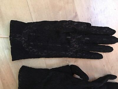 Vintage Dent Fownes Blue Lacey Floral Gloves - One Size