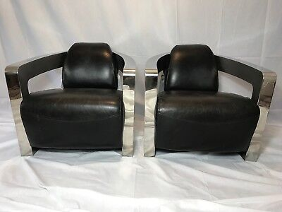 Pair Fine Copeland Aviator Leather Easy Chairs Vintage Riders Black Nero Leather