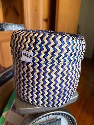 Beautiful Hand Woven Small Storage Basket With Lid By Globeln Blue And Tan