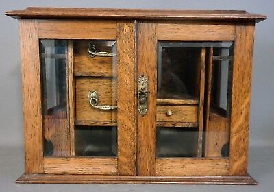 Antique ENGLISH OAK Tobacco PIPE Display SMOKING CABINET Old STASH Wood  LOCK BOX