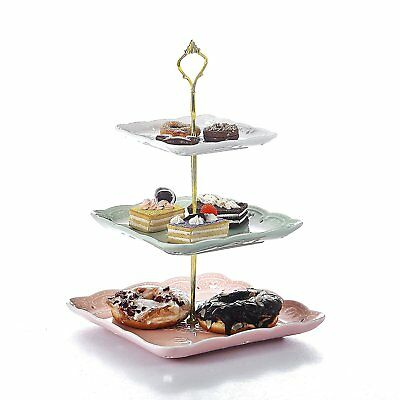 3 Tier Multicolor Wedding Cupcake Stand Square Ceramic Food Display Rack Tray