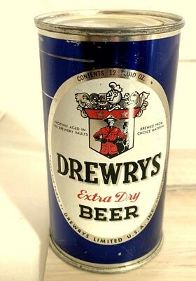 DREWRYS Extra Dry OVAL SPORTS Flat Top Beer Can, South Bend, IN Like 56-4