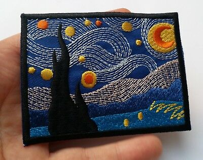Van Gogh Starry Night Embroidered Patch Iron On Quality Crafts Applique Art 3.5""