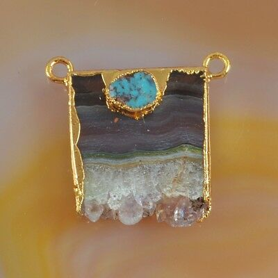 Rare Amethyst Druzy Slice & Genuine Turquoise Connector Gold Plated T073585
