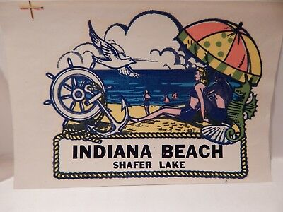Vintage Lindgren-Turner Unused Souvenir Travel Decal  - Indiana Beach