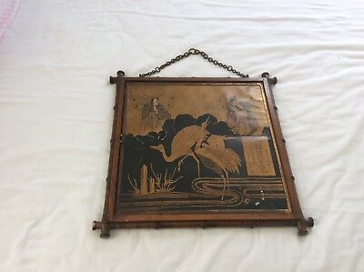 ANTIQUE FOLD-OUT MIRROR in JAPANESE STYLE - Foxing to the mirrors - Gold/Black