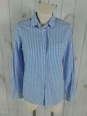 730fc20dad3 J.Crew Madewell Blue White Striped Long Sleeve Button Down Shirt - Size M