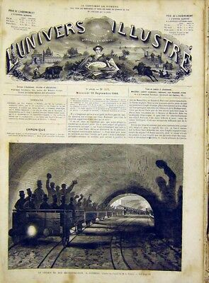 Original Old Antique Print Metropolitan Train London Tunnel French 1866 19th