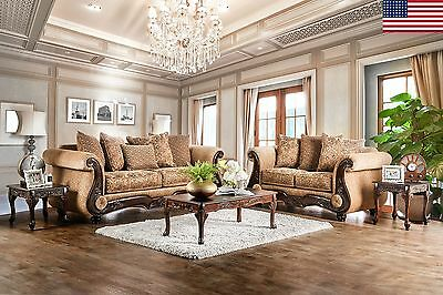 Traditional Gold Chenille 2pc Sofa Set Sofa Loveseat Formal Living Room USA