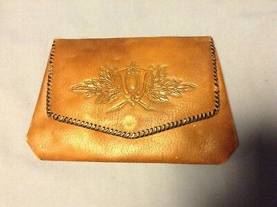 Vintage Antique Reedcraft Hand Tooled Brown Leather Clutch Purse Hand Bag