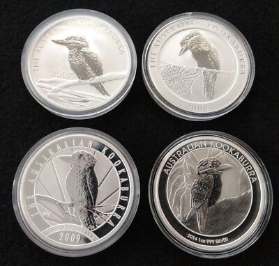 2007 2008 2009 2014 $1 Kookaburra 1 oz Silver Coins - 4 ounces total