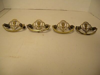 """4-Atq Brass Drawer Pull/Handle, Victorian Style, w/Orig. Screws, 2 1/2"""" Centers"""