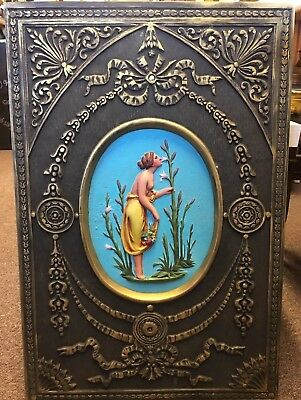 Antique Cast Iron Fireback Fireplace Insert With Painted Figural Center Plaque