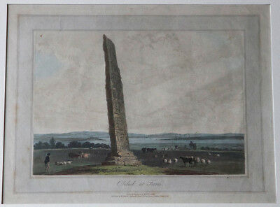 William Daniell- Obelisk at Forres -Sueno's Stone Pictish Standing Stone etching