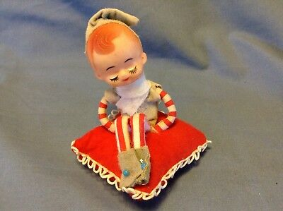 RARE Vintage Knee Hugger Elf Pixie Doll Red Striped Pillow Ornament Japan