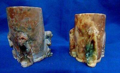 Vintage Carved Soapstone Monkey Toothpick/Cup Marked China-Lot of 2