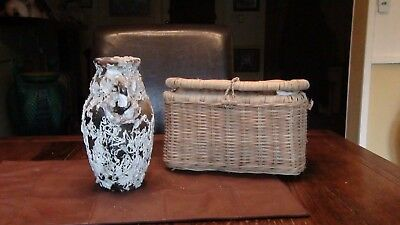 shipwreck artifact? vase oysters and marine life, with wicker basket