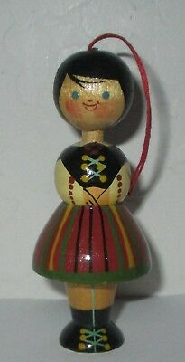 """Vintage Polish Painted Girl Wood 3 3/4""""  Christmas Ornament Made In Poland"""