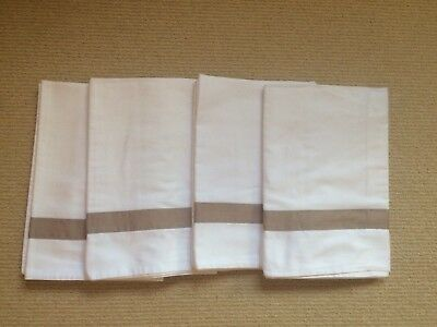 The White Company Housewife Pillow cases - set of 4 White with taupe border