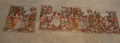 "Lot Of 2 Vintage Tapestries Wall Hangings Colonial Scenes - 55""x19"", 18.5""x18.5"""