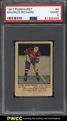 1951 Parkhurst Maurice 'Rocket' Richard ROOKIE RC #4 PSA 2 GD (PWCC)