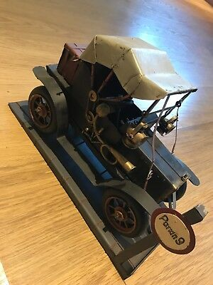 Tin Plate Car Model Wind Up With Parking Base