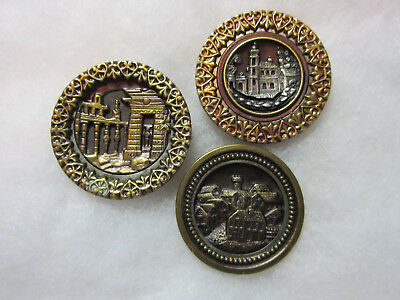 Wonderful Lot Of 3 Large Antique/ Victorian Metal Buildings  Picture Buttons