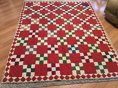 """vintage quilt, Country Primitive Farmhouse Machine And Hand Sewn 74""""x62"""""""