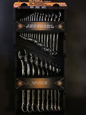Olympia Tools 04-752 SAE Fully Polished Combination Wrench Set (25 Piece)