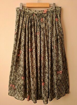 305f32c28a918 70s vintage midi skirt 12-14 grey   pink circle patterned quirky secretarial