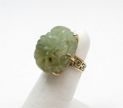 14K Yellow Gold Green Jade Oval Carved Dragon Greek Key Ring Size 5