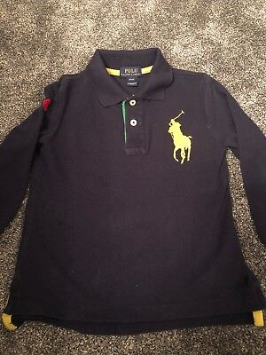 Boys Ralph Lauren Long Sleeved Navy Polo Top aged 4 years