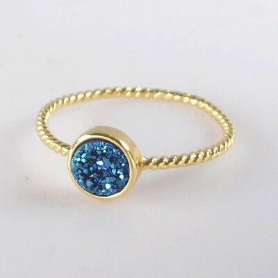 Size 7.75 7mm Natural Agate Titanium Druzy Bezel Ring Gold Plated T073609