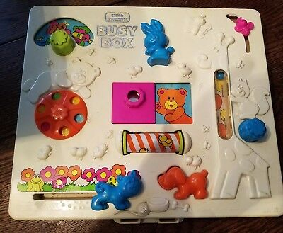 Vintage 1980 CHILD GUIDANCE BUSY BOX Crib Activity Center Baby Learning Toy