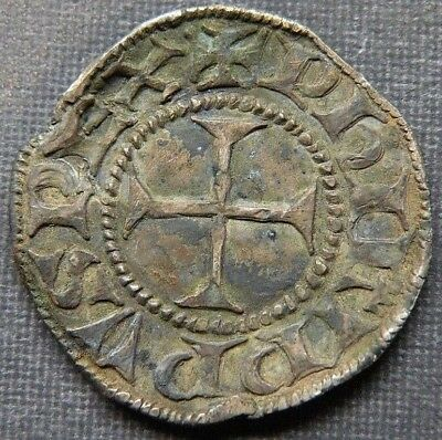 Medieval Crusader Cross Coin Antique 1300-1445 AD Silver Knight Templar Europe