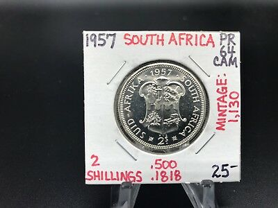 1957 South Africa 2 Shilling PR64CAM Mintage Of 1,130