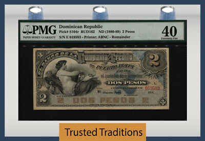 TT PK S104r ND (1880-89) 2 PESOS ORO DOMINICAN REPUBLIC PMG 40 EXTREMELY FINE!