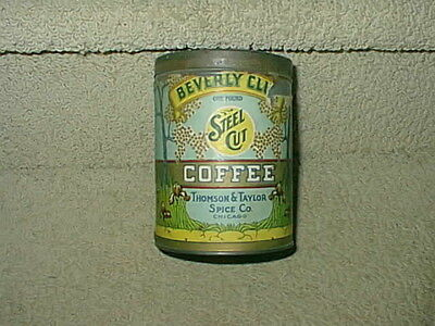 Rare Antique Beverly Club Steel Cut Coffee Can Tin Thomson Taylor Spice Company